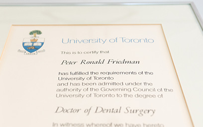 Certificate awarded to a doctor of dental surgery from the University of Toronto
