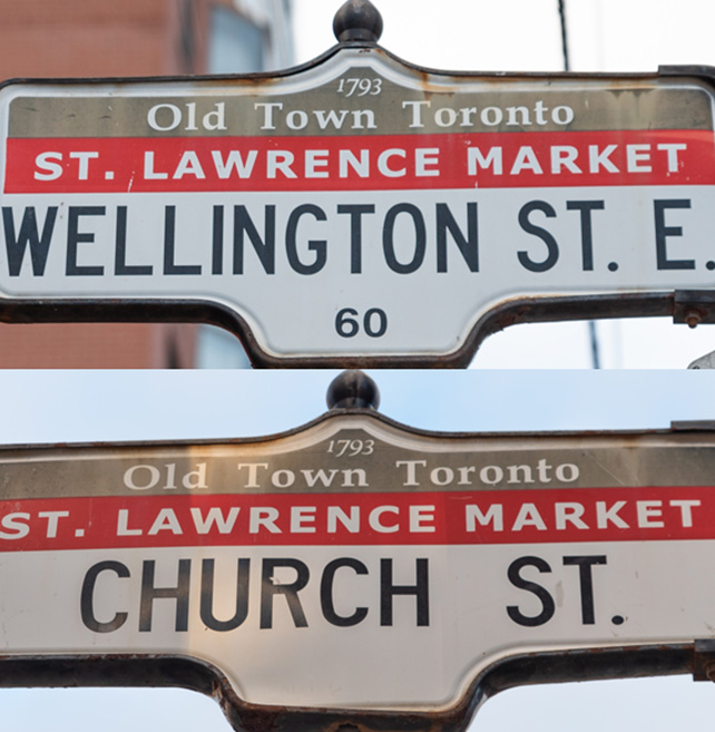 Street signs in Downtown Toronto's St. Lawrence Market