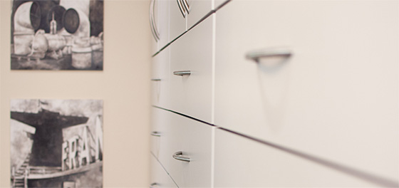 White equipment drawers in a Toronto dental clinic